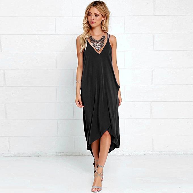 ae6305b54c whiskyky store Women Summer Boho Long Maxi Irregular Hem Evening Party  Loose Beach Dress