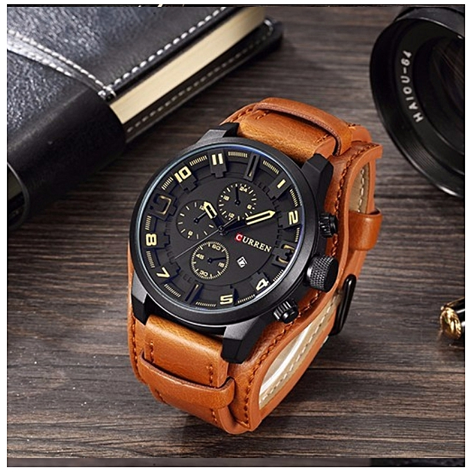 e0b919275 Mens Watches Leather Men Watch Casual Sport Male Clock Watch black brown