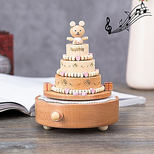 Birthday Cake Shape Home Decority Wooden Musical Boxes