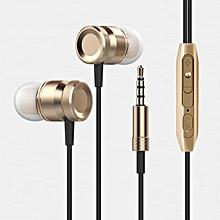 Super Bass Stereo Sport Earphone 3.5mm jack Headset  Gold