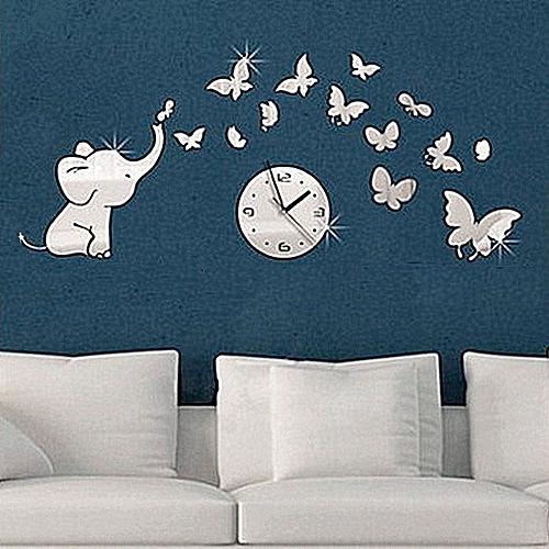 generic elephants play butterfly sticker diy mirror wall clock wall