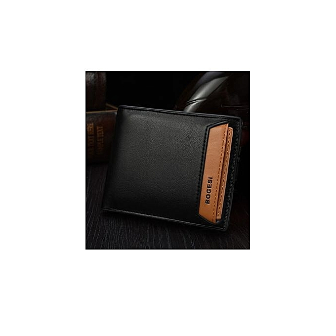 Bogesi New Fashion Genuine PU Leather Wallet Male Bag Brand Men Wallets Handbag Purse Black Horizontal