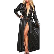 a29c01c81b Generic Women Sexy Long Silk Kimono Dressing Gown Babydoll Lace Lingerie  Bath Robe A1