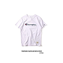 Champion Street Fashion Men   Women Japanese Style Embroidery Letter Logo High Quality Pure Color Cotton Casual Loose Round Neck Short Sleeves T-shirt White