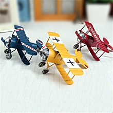 Zakka Plane Toy Classic Model Collection Childhood Memory Antique Tin Toys Home Decor-Yellow