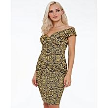 Snake Print Bardot Midi Dress