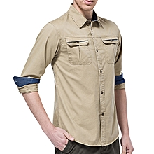 Mens Cotton Outdoor Long Sleeve Soft Work Business Casual Shirts