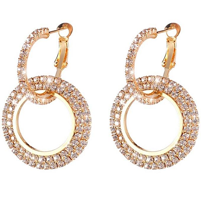 78d517a7bccb3f Fashion Luxury Round Earrings Women Crystal Geometric Hoop Earrings Jewelry  Gift