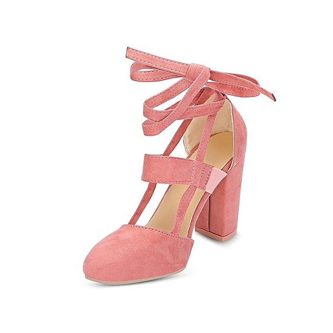 e473fb593cc Women Pointed Toe Lace-up Chunky Heel Shoes Sandals-LIGHT PINK