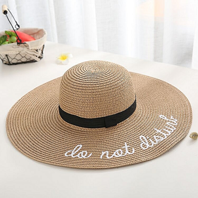 5b0ce1577a0330 ... new letter embroidery cap Big brim Ladies summer straw hat youth hats  for women Shade sun ...