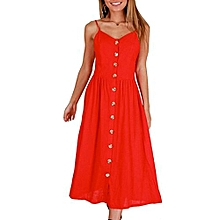 New Summer Women's Floral Print Sleeveless Shoulder-Straps Buttoned Backless Sexy Dress With 20 Colors Optional (Red)
