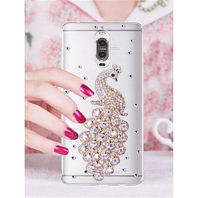 General Huawei Series Phone Case Peacock Pattern Rhinestone