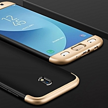 GKK For Galaxy J3 (2017) (EU Version) PC Three - paragraph Shield 360 Degrees Full Coverage Protective Case Back Cover (Black + Gold)