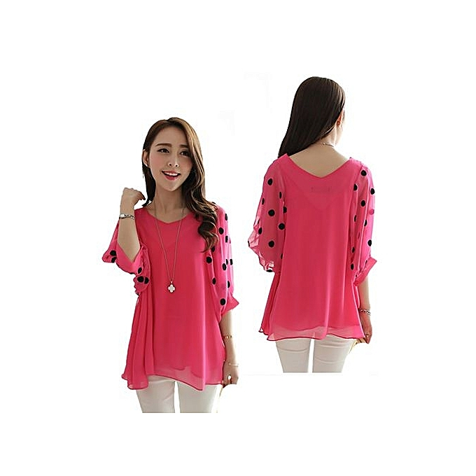3510d6c0f035f BlueLife Plus Size Chiffon Blouse Half Sleeve Casual Loose Tops ...
