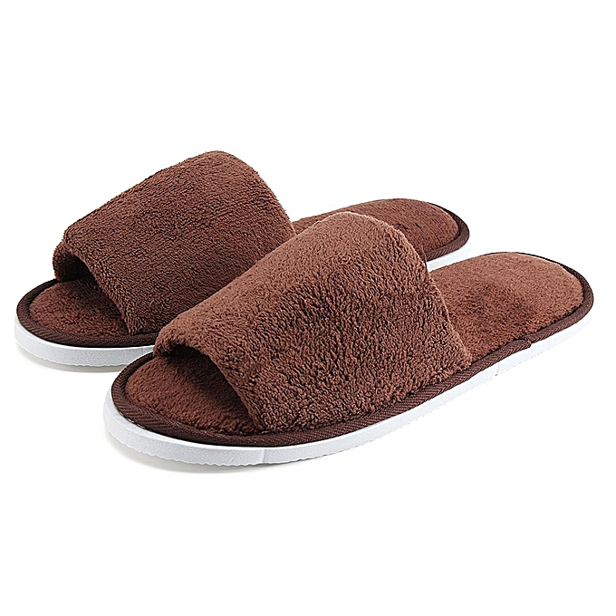 c263105b8279 New Women Men Open Toe Winter Slippers Warm Slippers Fleece House Indoor  Shoes