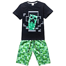 Kisnow 4-16 Years Old Boys' 115-165cm Body Height 2 Pieces Cotton Cartoon Pant + T-shirts (Color:Black)