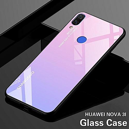premium selection 98630 6ae23 Glass Case For Huawei Nova 3i Tempered Glass Case Full Coverage Cartoon  Cover Cases For Nova 3i Casing 184463 (Pink)
