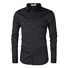 MrWonder Men's Bamboo Fiber Dress Shirt Slim Fit Button Down Long Sleeve Casual Shirts Color:Black Size:L