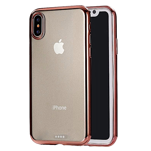 reputable site 320ab 44c16 Ultra-thin Electroplating Soft TPU Protective Back Cover Case for iPhone  XS(Rose Gold)