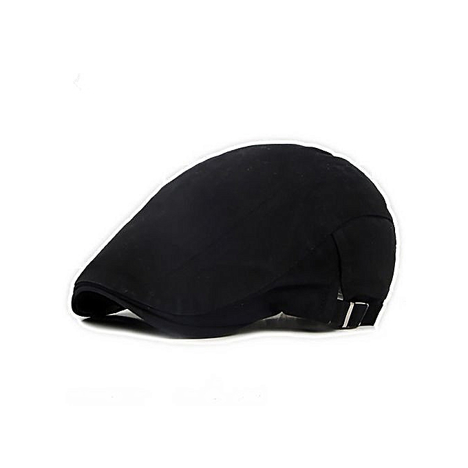 9319eca3d35 Men Casual Classic Solid Color Flat Cabbie Newsboy Ivy Hat Cotton Sun Beret  Cap-Black