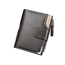 Wallet Men Leather Men Wallets Purse Short Male Clutch Leather Wallet Mens Money Bag -Black