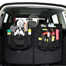Car Seat Back Storage Bag SUV Trunk Tools Sundries PU Leather Multifunction Vehicle Storage Bag-B