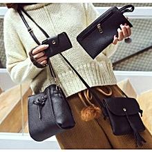 4Pcs/Set Women Messenger Bags Set Solid Shoulder Bags Crossbody Bag Tote Composite Bags Black