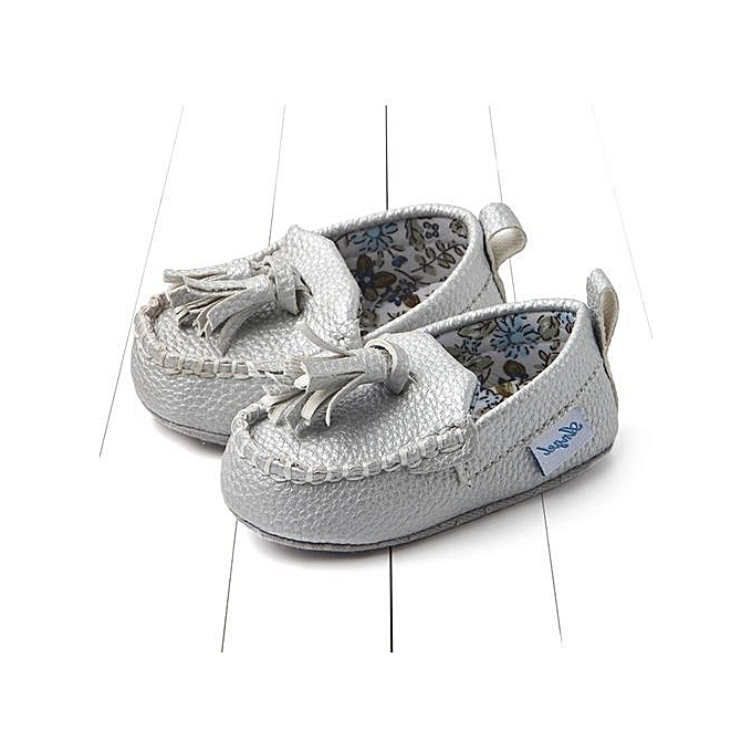 dc8933cd6d3 bluerdream-Newborn Infant Baby Double Soft Sole Leather Single Casual Flats  Shoes- Silver