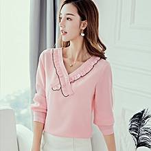 New large size slim ladies shirt casual wild trend solid color chiffon shirt-pink