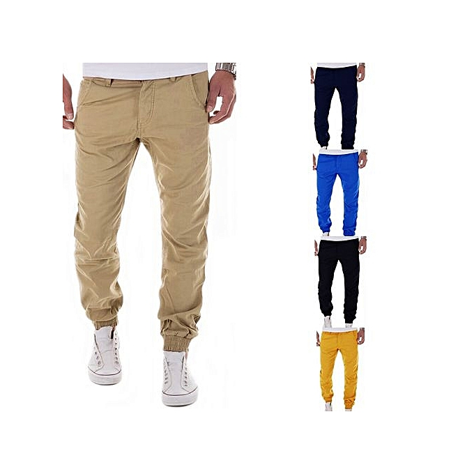 3e79051dc Men s New  Autumn Winter Mens Casual Pants Fashion Solid Color Cargo Pants  Joggers Men Loose