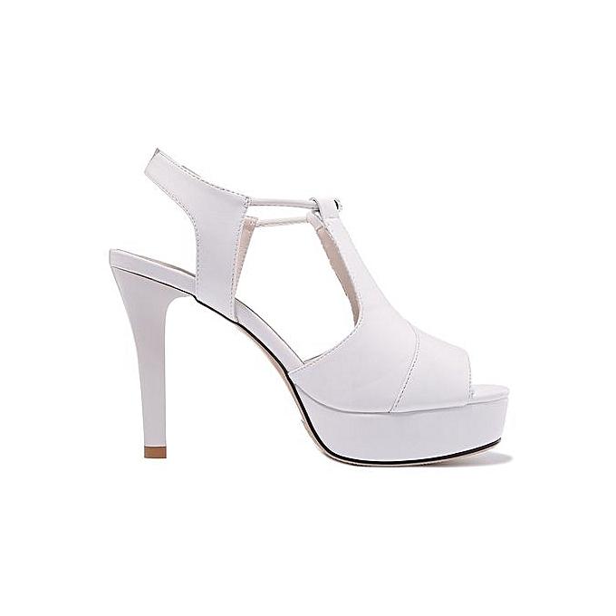 d0f4fe1cec8e ... Summer Sexy Women Sandals Peep Toe High Heels Slingbacks Black White  Ladies Dress Shoes New Platform ...