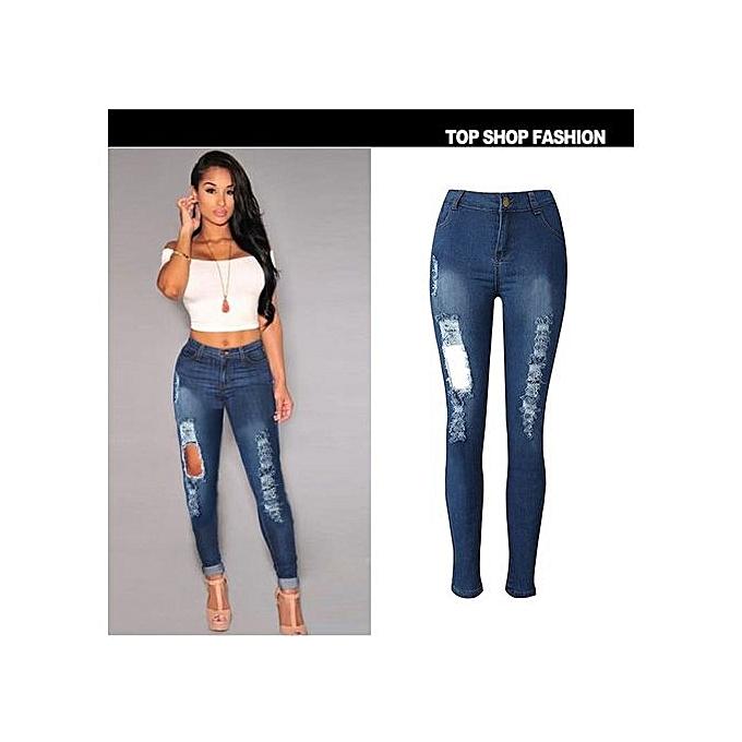 e78fcb44c5 Hot sale Women High Waist Jeans Hole Skinny Ripped Pants High Waist Stretch  Jeans Long Pencil