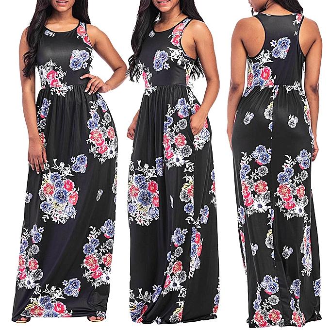 78c08ab50d Sexy Lady Women Floral Print Round Neck Sleeveless Long Maxi Casual Beach  Dress
