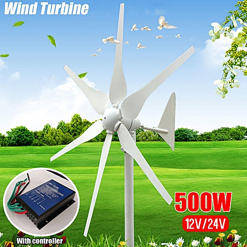 500W 12V 6 Blades Miniature Wind Turbine Residential Home With Controller