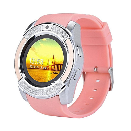 Bluetooth V8 Smart Watch Relogio Android SmartWatch Phone Call GSM Sim  Remote Camera Information Display Sports Pedometer(#Pink)
