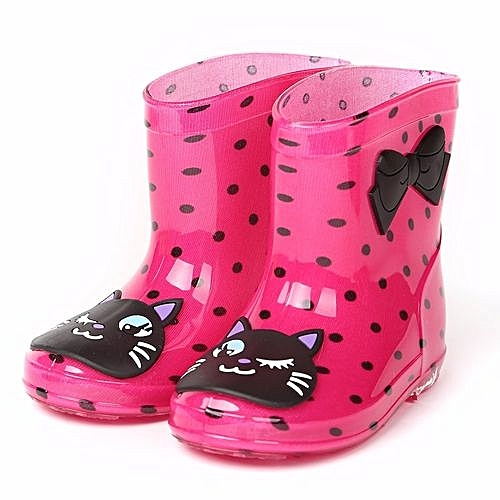 Waterproof Child Animal Rubber Infant Baby Rain Boots Kids Children Rain  Shoes- Hot Pink