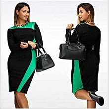 Large Size Dresses For OL Ladies Business Office Dresses Wear To Work Elegant Pice Hip Simple Bodycon Formal Dresses-black & Green