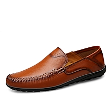 Mens Dress Formal Genuine Leather Loafers Shoes Red Brown