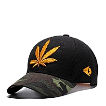 Unisex Fashion Sports Hat Embroidery Bend Eaves Baseball Cap For Camping Traveling Color:Black + Bright Leaf Specification:adjustable