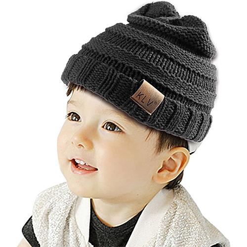 2eb9d621edb Generic KLV Warm Unisex Kids Casual Stripe Cap Plain Beanie Knitted Hat  Rolled Cuff