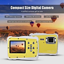 Yellow Waterproof Children Digital Camera With 2 Inch Display Screen And Wrist Strap