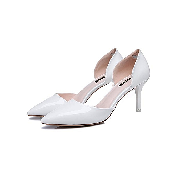 819954d7cc47d New High Heels Women Genuine Nutural Leather Pumps Fashion Elegant Wedding  Black Pointed Toe Shoes Handmade Shoes 016 White