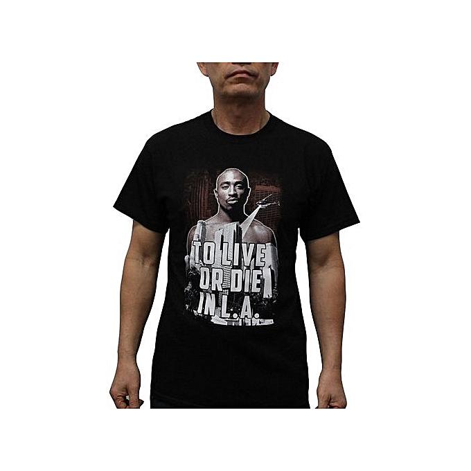 71711bde Fashion Custom Funny Mens T Shirt Tupac Shakur 2Pac To Live Or Die ...