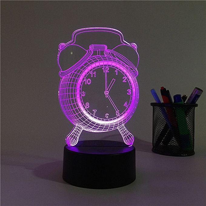 Wall Light Jumia: 3D Alarm Clock Night Light Plug Led Stereo Bedroom Bedside