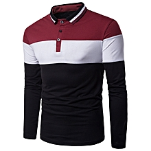 Color Block Rib Turndown Collar Panel Design T-shirt - RED