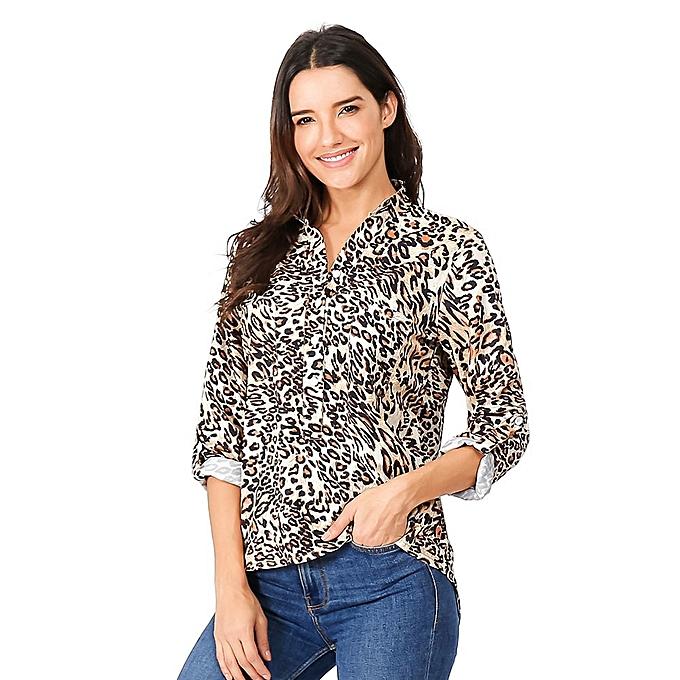 853bfaa3f3e4 huskspo Women Plus Size Leopard Print Casual Long Sleeve Shirt Pocket  Blouse Top