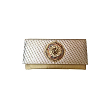 Duo Clutch with Antique Copper Brooch - Light Gold