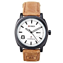 White 1839 Dial Watch - Sports Waterproof - Leather Strap Wrist Watch- Tan Brown /White