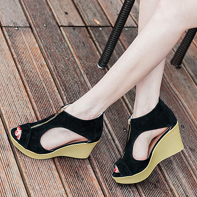 2510d7b69721 ... bluerdream-Women Shoes Summer Sandals Casual Peep Toe Platform Wedges  Sandals Shoes-Black ...
