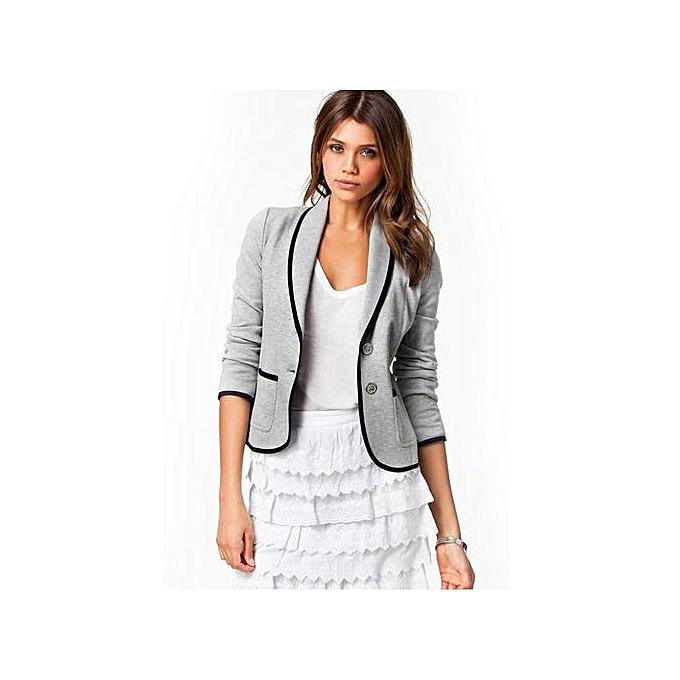 Buy Fashion Plus Size Formal Jacket Womens Gray Female Women